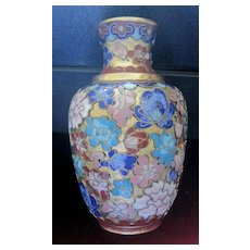 Chinese cloisonne enamel floral vase with raised flowers