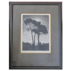 Maurice Walter Kessel copper plate lithograph custom framed