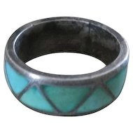 Vintage Mexican sterling 925 lattice style silver over turquoise ring size 6 1/2