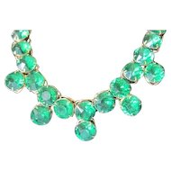 Fabulous Vintage large and lucious Green rhinestone dangle Necklace