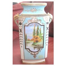 "Handpainted Nippon vase 11"" tall with formal gardens imported by Morimura Bros"