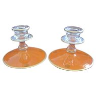 One ART DECO Czech pair of clear and orange glass candlesticks with gold trim