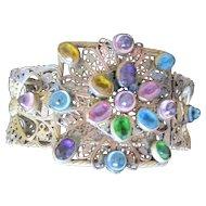 Czech filagree and bezel set jeweled bangle bracelet