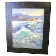 Erin Dertner oil on canvas board painting of the wind swept sea in Mendocino, Ca.