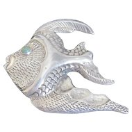 Whimsical Mexican silver angel fish with a turquoise bezel set eye