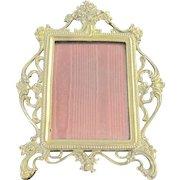 Vintage Art Nouveau brass Gorham picture frame with a rose motif