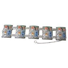 German Unique Art Deco sterling marcasite and enamel link bracelet