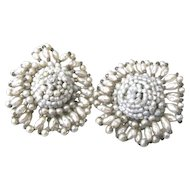 Miriam Haskell imitation pearl floral clip back earrings