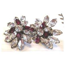 Vintage pair of all rhinestone Miriam Haskell clip earrings