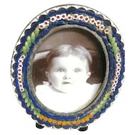 Small oval Italian mosaic frame with self standing easel