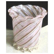 Venetian ribbon spun pink and gold glass pen holder