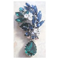 Vintage Austrian blue and green rhinestone pin with large dangle teardrop