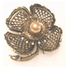 Vintage sterling Ralph DeRosa fur clip in the shape of a large flower blossom