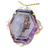 Vintage Amethyst intaglio of a pretty woman set in 14kyg with diamonds and pearls