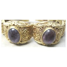 Vintage Chinese filagree vermeil bracelet set with oval cabochon amethysts
