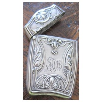 Sterling Art Nouveau monogramed match safe with ornate flourishes of foliage