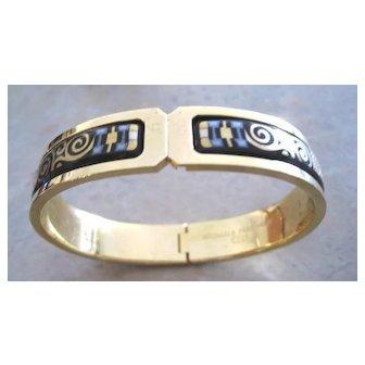 Vintage Michaela Frey 24kyg plated snap bangle bracelet in original box geometric pattern