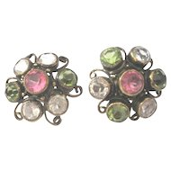 Vintage paste pastel earrings clip back set in gold washed sterling