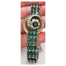 Vintage Bellin multi green and clear rhinestone bracelet
