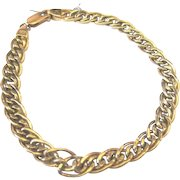 Vintage Italian 14k yellow gold hallmarked multi swirl chain bracelet Favored for charm bracelets