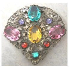 Art Deco Fishel & Nessler Co colorful rhinestone dress clip signed on clip FNCO