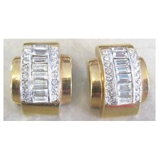 Vintage signed Donald Stannard runway retro style diamante clip earrings gold washed
