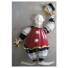 KJL enamel and rhinestone clown pin tipping his hat