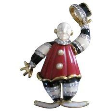 KJL enamel and rhinestone clown pin tipping his hat