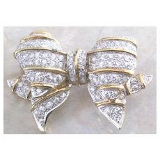 Vintage gilt sterling silver vermeil retro pave rhinestone puffy bow pin
