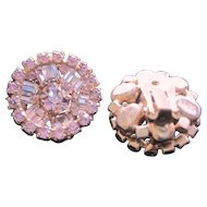 Vintage all lavender rhinestone clip back earrings