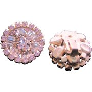 Vintage all lavender rhinestone clip back earrings