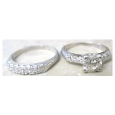 Vintage Platinum diamond wedding set consisting of 0.70 center diamond ring and diamond wedding band
