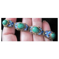 Chinese wedding bracelet gold tone sterling with dyed jade and enameled blue flowers