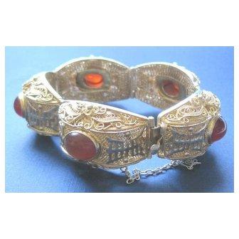 Ornate Vintage Chinese vermeil wedding bracelet with carnelian cabochons