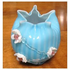 Blue stripped Art Glass pinched top cased glass vase with applied flowers