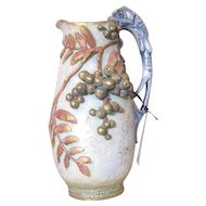 RStK Austrian Imperial Amphora blue pitcher with lizard handle and raised floral decorations