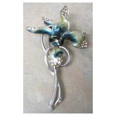 Marcel Boucher Cyclamen flower pin with enamel and rhinestone elements
