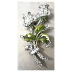 Unsigned Dujay rhinestone double rose pin decorated with green enamel leaves