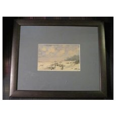 Beachy sand pencil & watercolor by listed artist Alexander Pehmoller custom framed