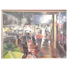 Watercolor of a New York City city street scene in the rain