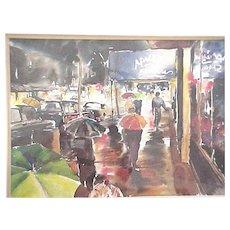 Watercolor of a New York City city street scene in the rain
