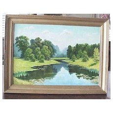 Vibrant Russian signed oil on canvas painting of a river landscape