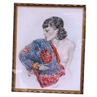 Art Deco semi nude woman signed lithograph by Edouard Chimot