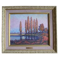 Gunter Horn pointillism oil on board painting of the Harvest Moon