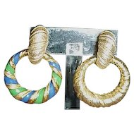 Joseph Mazer clip dangle hoop earrings 2 Pair in one