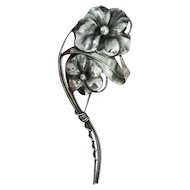 "Sterling Art Nouveau style floral pin of pansies on a stem 5"" long"
