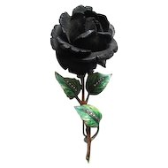 Sterling Silver Jeweled & Enamel Rose pin from Germany