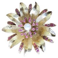 Swoboda florintine gold tone flower pin with rubies