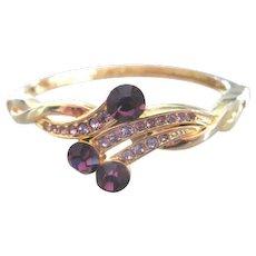 vintage Cuff style Bracelet in yellow metal with Purple Rhinestones