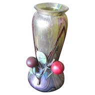 Bohemian Art Glass vase with Metal girdle Applied Cherries